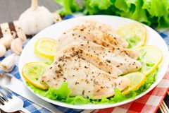 Chicken breast with lemon and garlic Royalty Free Stock Photo