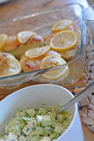 Chicken breast with lemon and pickle salad Stock Images