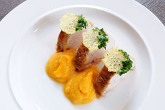 Chicken breast - lunch. Chicken breast - boiled and then grilled. Butternut squash puree. Garnish - cheese chips stock images