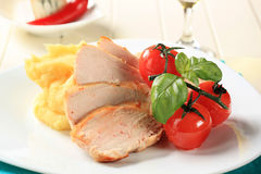 Chicken breast and mashed potato Stock Images