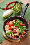 Chicken breast meat and vegetables on frying pan Royalty Free Stock Photos