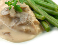 Chicken Breast in Mushroom Sauce with Green Beans Royalty Free Stock Photo