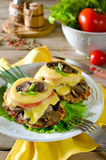 Chicken breast with mushrooms and cheese Royalty Free Stock Images