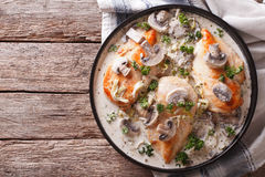 Chicken breast with mushrooms in cream sauce horizontal top view Royalty Free Stock Photography
