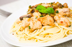 Chicken breast and mushrooms with pasta Stock Photography