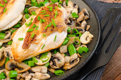 Chicken breast with mushrooms and spring onions Royalty Free Stock Images