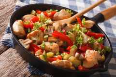 Chicken breast with mushrooms and vegetables on a pan close-up. Stock Images