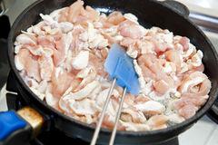 Chicken breast on the pan Royalty Free Stock Images