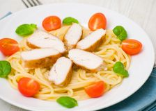 Chicken breast with pasta Royalty Free Stock Images