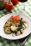 Chicken breast with Pesto sauce and vegetables Stock Photography