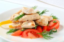 Chicken breast pieces with vegetables Stock Photography