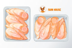 Chicken breast polystyrene packaging vector. Fresh chicken breast White polystyrene packaging, vector mockup Top view vintage vector isolated sketch hand drown Royalty Free Stock Image