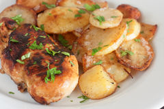 Chicken breast with potatoes Stock Image