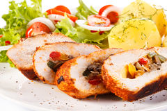 Chicken breast, potatoes and vegetables Royalty Free Stock Image