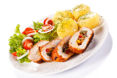 Chicken breast, potatoes and vegetables Royalty Free Stock Images