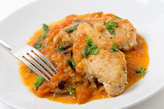 Chicken breast provencal meal Stock Photos