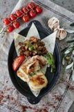 Chicken breast with roast potato stock image