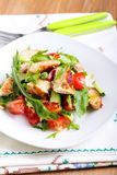 Chicken breast, rocket, cucumber and tomato salad Royalty Free Stock Images