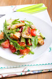Chicken breast, rocket, cucumber and tomato salad Royalty Free Stock Photos