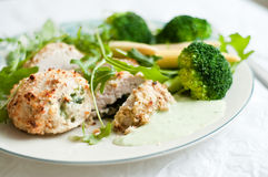 Chicken breast rolls with side dishes Stock Photography