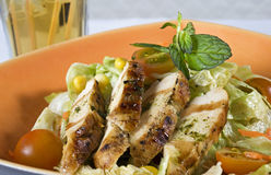 Chicken breast salad in a bowl. With condiments in the background Royalty Free Stock Image