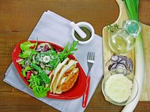 Chicken breast salad with leaf vegetables Royalty Free Stock Photo