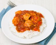 Chicken breast with sauce and rice Royalty Free Stock Photography