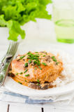 Chicken Breast Sauteed in Creamy Mushroom Sauce over Rice Royalty Free Stock Photography
