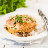 Chicken Breast Sauteed in Creamy Mushroom Sauce over Rice Royalty Free Stock Photos