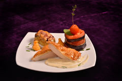 Chicken breast schnitzel with vegetables (tomato, eggplant) Royalty Free Stock Photography