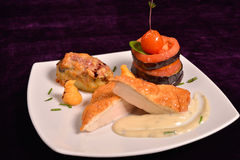 Chicken breast schnitzel with vegetables (tomato, eggplant) and Royalty Free Stock Photos