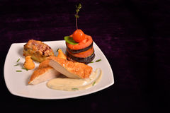 Chicken breast schnitzel with vegetables (tomato, eggplant) and Royalty Free Stock Photography