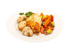 Chicken breast served with mushrooms Royalty Free Stock Images
