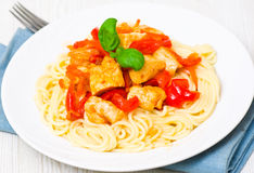 Chicken Breast with spaghetti and vegetables Royalty Free Stock Images