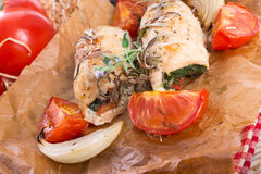 Chicken breast with spinach, baked tomatoes Royalty Free Stock Photography