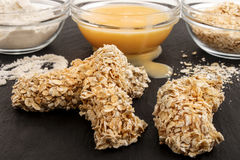 Chicken breast stripes, coated with oatmeal Stock Image