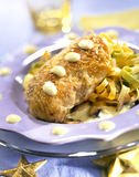 Chicken breast with tagliatelles and cream sauce Stock Photography