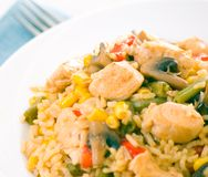 Chicken Breast with Vegetables, Mushrooms and Rice Royalty Free Stock Image