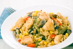 Chicken Breast with Vegetables, Mushrooms and Rice Royalty Free Stock Photos