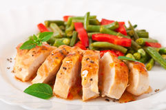 Chicken breast with vegetables Royalty Free Stock Images