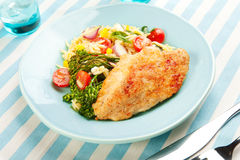 Chicken Breast With Pasta Salad And Broccolini Royalty Free Stock Photography