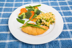 Chicken Breast wtih Rice Vegetables and Green Peppers Royalty Free Stock Images