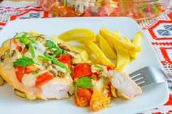 Chicken breasts baked with tomatoes and mushrooms Royalty Free Stock Photos