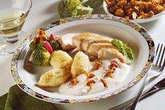 Chicken breasts in chanterelle cream sauce Stock Photos