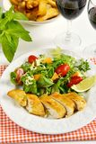 Chicken breasts coated with cornflour Royalty Free Stock Images
