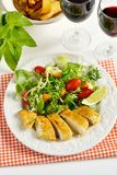 Chicken breasts coated with cornflour Stock Image