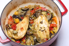 Chicken breasts cooked with vegetables Royalty Free Stock Images