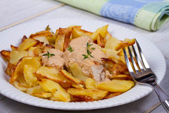 Chicken breasts in mushroom creamy sauce and home fried potatoes. Stock Photos