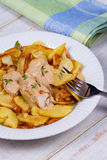 Chicken breasts in mushroom creamy sauce and home fried potatoes. Royalty Free Stock Image