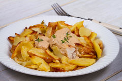 Chicken breasts in mushroom creamy sauce and home fried potatoes. Stock Photography